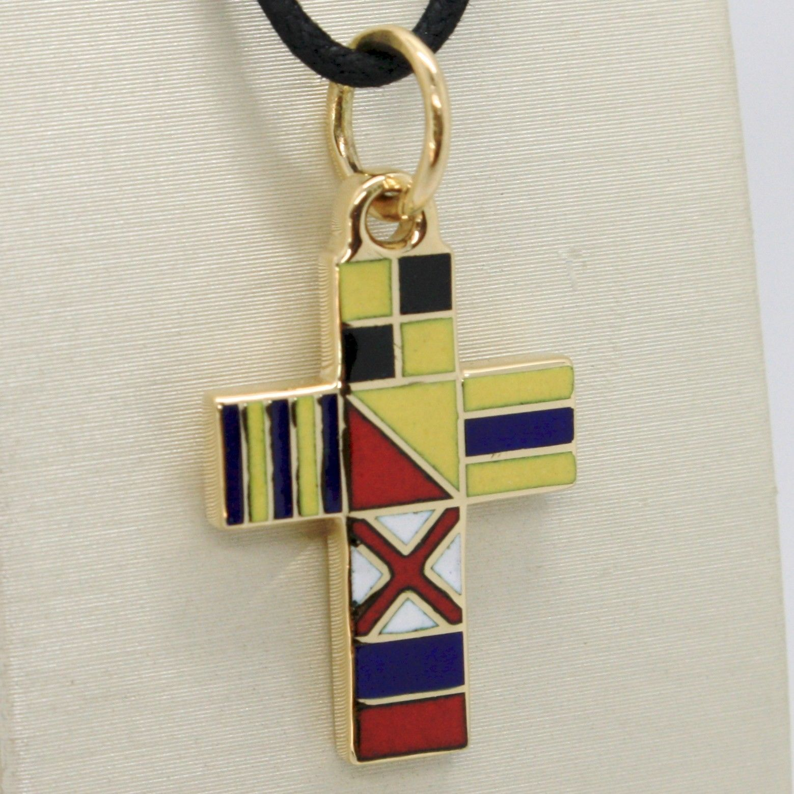 SOLID 18K YELLOW GOLD CROSS NAUTICAL GLAZED FLAGS, PENDANT SQUARED MADE IN ITALY