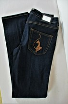 BABY PHAT womens Sz 7 W 28 denim dark blue WIDE LEG stretch jeans NWT (H) - $38.99