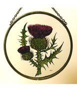 Decorative Hand Painted Stained Glass Window Sun Catcher/Roundel in a Scottish T - $43.02