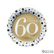 Cheers to 60 Years Paper Dinner Plates - $3.61