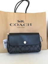 NWT Coach F59534 Reversible Crossbody In Signature Coated Canvas Black S... - $108.42