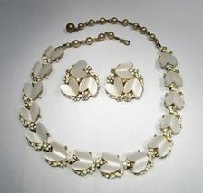 Vintage BSK Heart Shaped Lucite Rhinestone Choker Necklace & Earrings Se... - $24.09