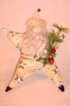 VINTAGE HANDMADE STAR SANTA CLAUS CHRISTMAS DECORATION MINK TRIMMED HAT - $25.73