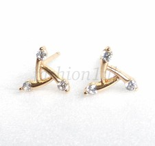 Women Girl Small Triangle Studs Earrings Simulated Diamond 18K Gold Plat... - $13.67