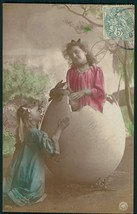 antique TINTED RPPC PHOTO PC~ADORABLE EASTER BUNNY CHILDREN n EGG french... - $24.95