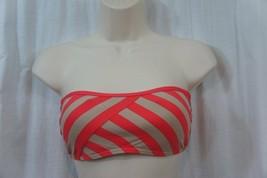 DKNY Donna Karan New York Swim Bikini Top Sz M Coral Striped Bandeau Swi... - $18.62