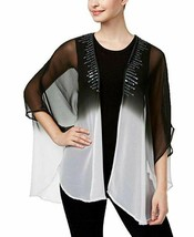Steve Madden Sequined Sheer Kimono Shawl Wrap Cover-Up, Black White Ombre - $13.86