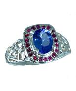 14k Tanzanite & Ruby Ring, White, Yellow, Rose Gold, Free Sizing, US made. - $425.00