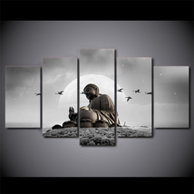 5 Pcs Moon Buddha Landscape Wall Art Picture Home Decor Canvas Painting  - $47.99+