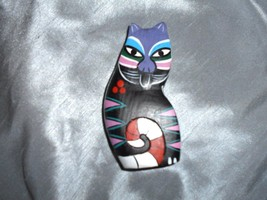 FOLK ART WOODEN BLACK CAT - $6.50