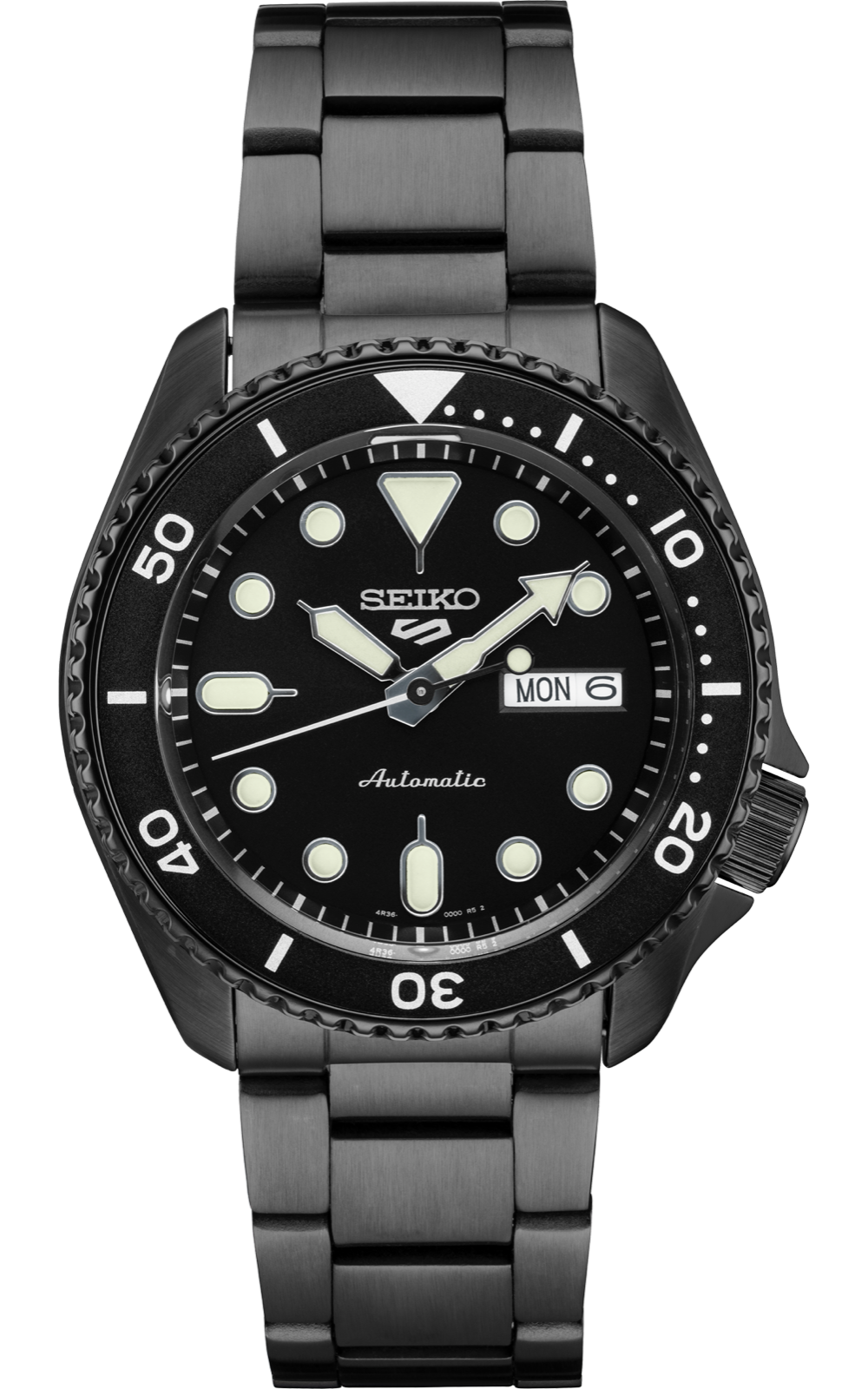 NEW SEIKO SRPD65 5 SPORT BLACK ION FINISH STAINLESS STEEL WATCH