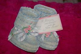 Vintage Die Cut Hallmark New Baby Greeting Card Shaped Like Baby Booties - $8.00