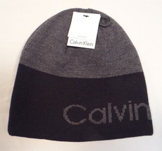 Calvin Klein Reversible Black & Gray Knit Beanie Skull Cap Adult One Size NWT - $40.83
