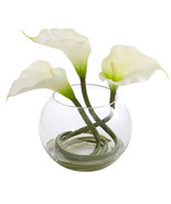 9 Calla Lily Artificial Arrangement in Rounded Glass Vase - $51.28