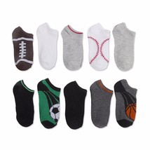 Walmart Brand Boys No Show Socks Sports Football 10 Pair Large Shoe Size... - $10.88