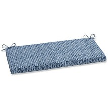 Pillow Perfect Outdoor | Indoor Herringbone Ink Blue Bench Cushion - £36.21 GBP