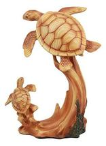 """Ebros Mother and Baby Sea Turtle Decor Statue 9"""" Tall Faux Wood Resin Ma... - $26.99"""