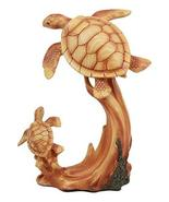 "Ebros Mother and Baby Sea Turtle Decor Statue 9"" Tall Faux Wood Resin Ma... - $26.99"