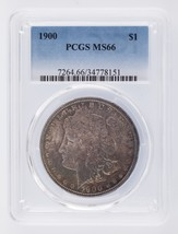 1900 $1 Morgan Silver Dollar Graded by PCGS as MS-66 - $593.99