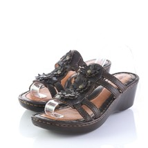Born Brown Leather Floral Wedge Sandals Slides Slip On Shoes Womens 7 SN... - $34.53