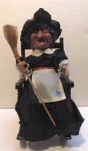 Halloween Animated Laughing Witch w/ Broom Rocking Chair Blinking Red Eyes - $39.59