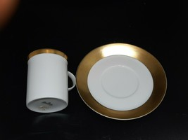 "Rosenthal demitasse cup/saucer gold on white Excellent condition c=2.5"" ... - $22.00"
