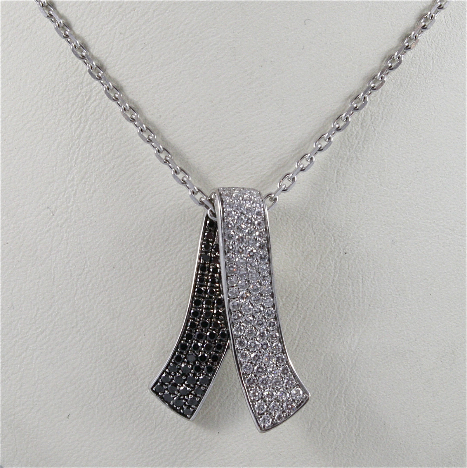 18K WHITE GOLD HUG PENDANT WITH BLACK DIAMONDS CT 2.07, NECKLACE, MADE IN ITALY