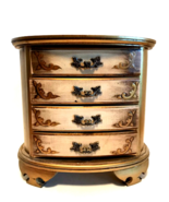 Wooden Musical Jewelry Box Gold Details & Hardware 4 Drawers 9.25 inches... - $47.52