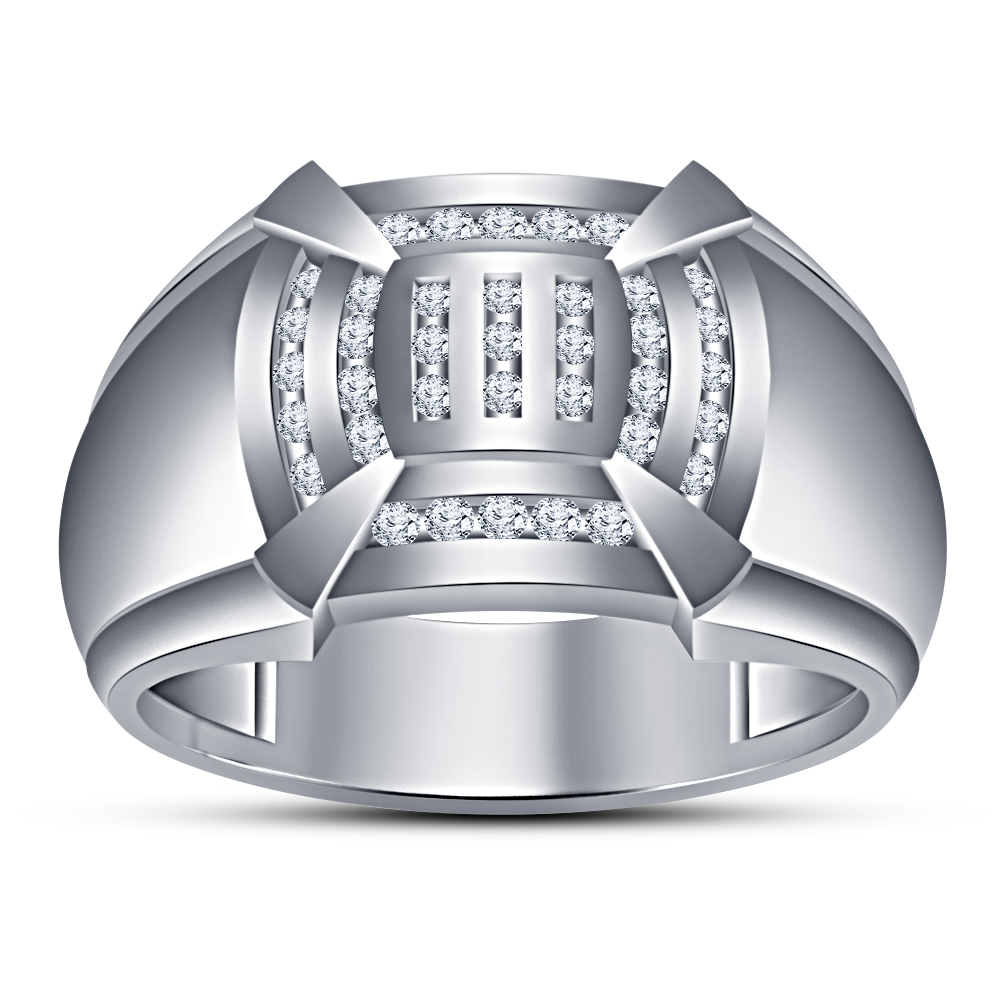 18k White Gold Plated 925 Silver Round Cut Sim Diamond Mens Band Engagement Ring