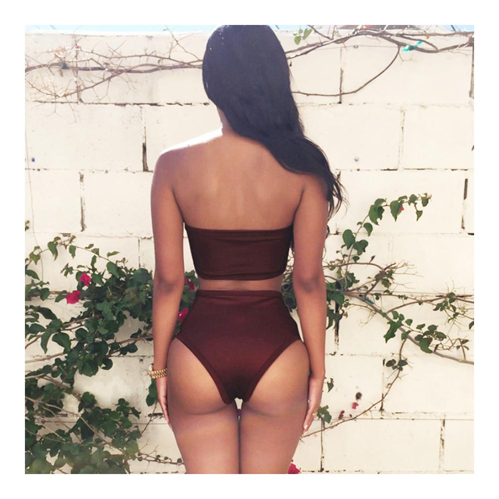Beach Sexy Bandage Hollow High-waisted Bikini Set Swimwear Swimsuit  coffee  S