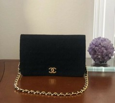 VINTAGE CHANEL BLACK QUILTED JERSEY FABRIC CLASSIC SINGLE FLAP HANDBAG - $1,262.25