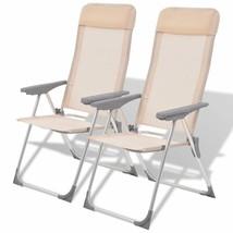 vidaXL 2x Camping Chairs Aluminum Folding Cream Reclining Camp Outdoor Seat - $74.99
