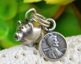 Vintage piggy bank pig coin penny bracelet charm set sterling silver thumb200