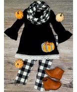 US Girls 3 PC Pants Set Fall Plaid  Pumpkin  Scarf, Tunic, Leggings Outfit - $29.99