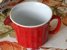 Large Coffee Mug Stoneware Drinking Soup Cup Red Set of 2 - $18.50