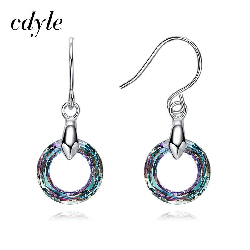 Cdyle Crystals from Swarovski Multicolor Round Drop Earrings Fashion Jewelry for