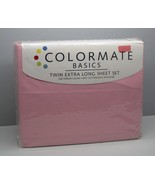 Sears Colormate PINK Sheets Twin Extra Long New  60% Cotton 40% Polyester - $12.86