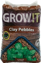 GROW!T Horticultural Clay Pebbles 40 Liter Bag 4mm To 16mm For Healthier... - $52.61
