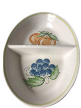 """Franciscan Earthenware  Serving Bowl 2 Sides 11"""" Fruit Peaches Pears Grapes - $26.68"""