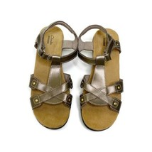 Clarks Collection Cushion Sandals Size 10 Pewter Open Toe - $25.64