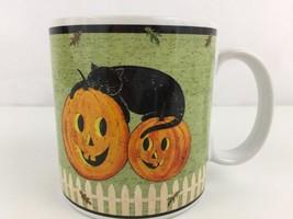 Warren Kimble Sakura Pumpkin Dreams Green COFFEE MUG Halloween Black Cat... - $11.69