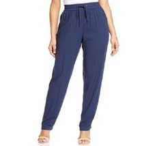 Style & Co. Tapered Pants Woman Sz 18W Ink Blue Rayon Drawstring Mid Ris... - $26.35