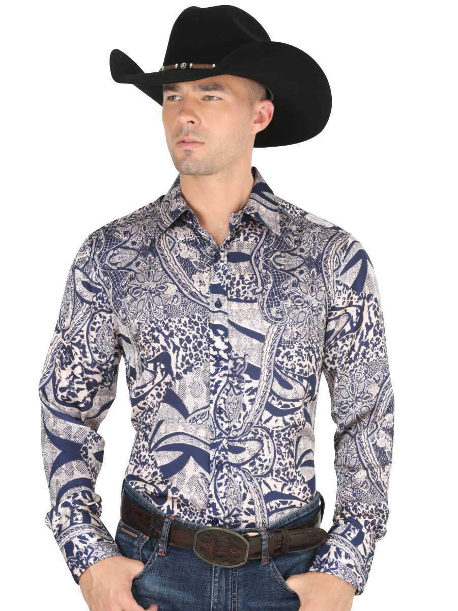Primary image for Western Shirt L/Sleeve (Spcls) El General 100% Polyester ID 34217 CA3 Blue