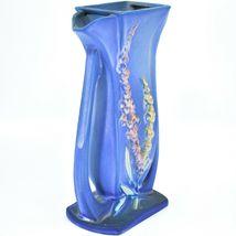 """Vintage Roseville Pottery USA Blue Foxglove Floral Flower 9.25"""" Vase 49-9 image 5"""