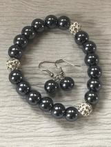 Estate Demi Metallic Gray Glass & Pave Crystal Stretch Bracelet & Matchi... - $13.99