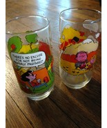 "Set Of 2 Charles Schultz PEANUTS ""Camp Snoopy"" McDonalds Glasses - $7.43"