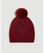 Ann Taylor Cable Pom Pom Hat, Viscose/Polyester, Exotic Ruby, One Size, NWT - $54.99