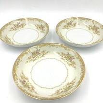 3 Noritake M China Olivia Coupe Soup Bowls Gold Rim Tan Scroll Pink Floral DH2 - $34.95