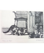 Vintage Print David Itchkawich Crime In Low Places Cat and Clown  - $125.00