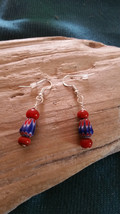 Millifiori Chevron Red glass Trade beads earrings Earwires Marked 925 Sl... - $9.36